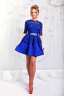 Праздничное короткое платье из неопрена с гипюром (разные цвета)