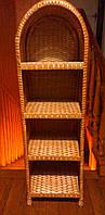 Этажерка плетеная на 4 полки кофейная, фото 1