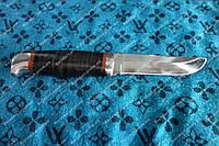 Нож охотничий с рукоятью из наборной кожи с кожаным чехлом Охотник