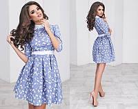 Кокетливое платье из льна с белым воротничком (4 цвета)