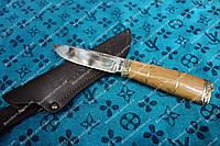 Нож охотничий ручной работы  ,рукоять латунь дерево , 230мм+чехол в комплекте