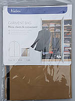 Чехол для хранения и упаковки одежды на молнии флизелиновый коричневого цвета. Размер 60 см*90 см.