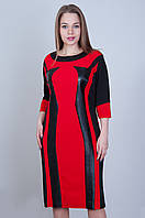 Стильное платье с вставками. Цвет красное с черным. Размер 52,54,, Код 576, фото 1