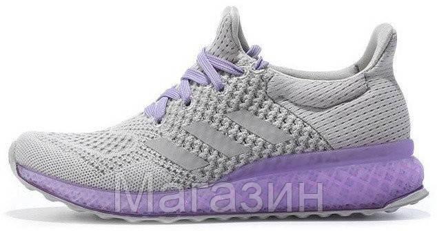 Женские кроссовкиAdidas Ultra Boost FutureCraft 3D Grey Purple Адидас Ультра Буст серые