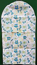 Чехол для хранения и упаковки одежды на молнии флизелиновый белого цвета с цветами. Размер 60 см*108 см., фото 3