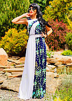 Летнее белое платье в пол с цветочным принтом