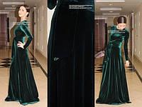 Платье макси бархатное с поясом в расцветках