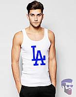 Майка борцовка мужская белая Los Angeles Лос Анджелес