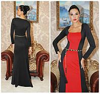Платье макси с красной вставковкой в расцветках