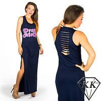 Длинное платье-майка с разрезами по бокам и на спине (3 цвета)