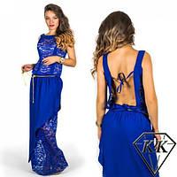 Платье макси с гипюром и открытой спиной (4 цвета)