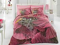 3D цветной евро комплект постельного белья Cotton Box Barbara pembe, ранфорс, Турция
