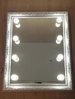 Зеркало 1000*800 мм в белой раме, светодиодная регулируемая подсветка, индивидуальный размер , фото 1