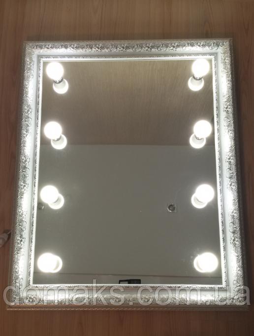 Зеркало 1000*800 мм в белой раме, светодиодная регулируемая подсветка, индивидуальный размер