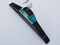 Плечики вешалки тремпеля мощный пластик черного цвета, длина 44 см, в упаковке 3 штуки