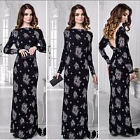 Длинное платье из принтованного трикотажа с открытой спинкой, р-ры 44-52
