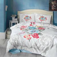 3D Цветной евро комплект постельного белья Cotton Box Vanessa mavi, ранфорс, Турция