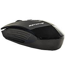 Радио мышь ESTONE E-2350 USB Черная компьютерная игровая оптическая лазерная юсб dpi 1600 точность клавиатура, фото 2