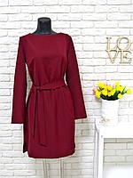 Платье  бордового цвета свободного кроя с поясом хит продаж
