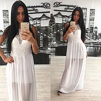 Вечернее платье белое макси верх гипюр.