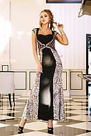 Вечернее ЧЕРНОЕ платье с принтом лео и со стразами Сваровски