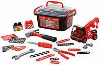 Набор в чемоданчике автомобиль-эвакуатор и конструктор 36 элементов