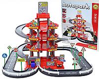 Детский 4-х уровневый паркинг с 3 машинками красный Wader 44723