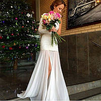 Королевское платье из итальянского гипюра с шифоном с одним рукавом