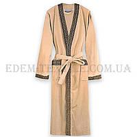 Халат велюровый мужской Virginia Secret 9075 кимоно, Бежевый