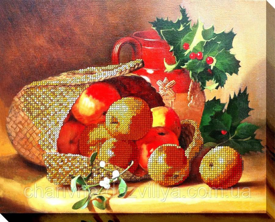 """Набор для вышивки бисером на хлопковом холсте натюрморт """"Корзина с яблоками"""""""
