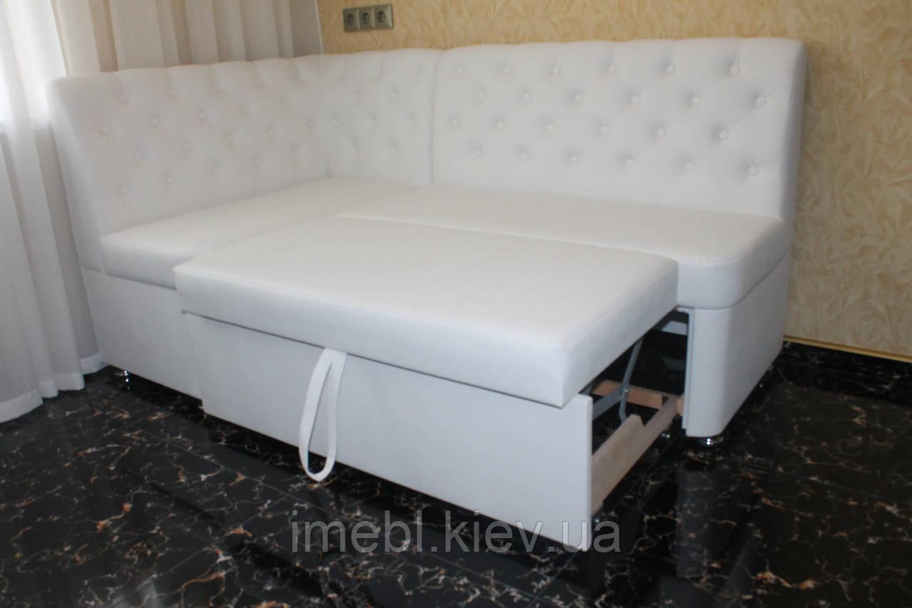 Мягкий уголок на кухню со спальным местом заказать по размеру (Белый)
