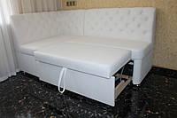 М'який куток на кухню зі спальним місцем замовити за розміром (Білий), фото 1