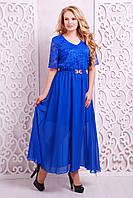 Платье вечернее с гипюром АЛАНА электрик,54-60