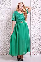 Платье вечернее с гипюром АЛАНА зеленое,54-60