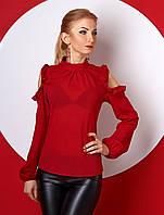 Женская блуза бордового цвета с открытыми плечами, длинный рукав. Модель 387.