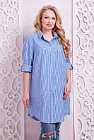 Платье-рубашка в клетку ЛОРЕНС синее (54-60)