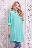 Платье-рубашка в клетку ЛОРЕНС бирюзовое(54-60)