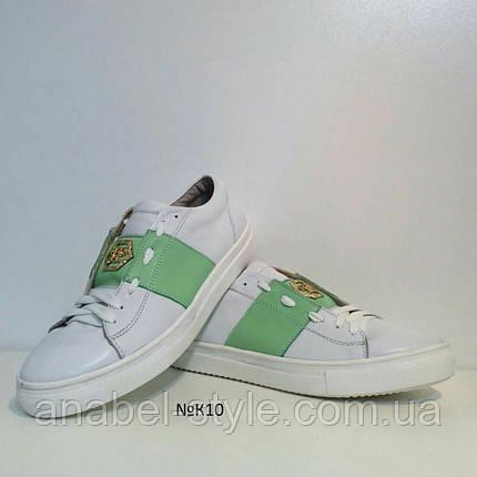 Кеды женские стильные из натуральной кожи белые с зеленой вставкой, фото 2