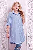 Платье-рубашка в клетку ЛОРЕНС голубое(54-60)