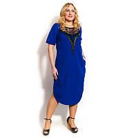 Женское стильное платье большого разера с коротким рукавом