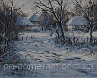 Игра Картины по номерам (VP357) Зима. Хатки (40х50)