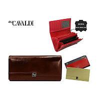Женский кошелек бренд CAVALDI Польша кожаный коричневый