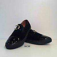 Кеды женские натуральная замша черного цвета с лаковой вставкой на носке