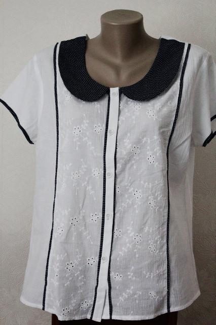 Блуза женская с воротничком в горошек