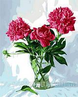 Игра Картины по номерам (MR-Q997) Пионы в стеклянной вазе