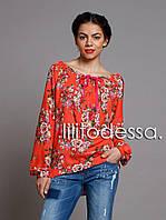 Блуза с широким декольте красный, фото 1