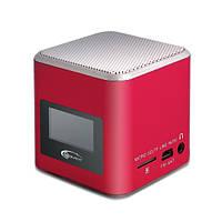 Колонки 1.0 Gemix Joy Red / 3Вт / 150-18000Hz / пластик / mini-jack 3.5 / USB, FM, кардридер microSD, LCD дисплей, встроенный аккумулятор, календарь,