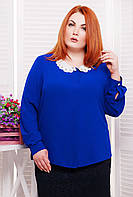 Блуза с воротничком из шитья ЭДИТ синяя