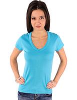 Женская яркая голубая футболка летняя с коротким рукавом однотонная с вырезом хлопок трикотажная (Украина)