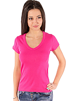 Розовая футболка женская летняя с коротким рукавом однотонная с вырезом хлопок трикотажная (Украина)